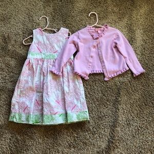 Lilly Pulitzer dress and cardigan  (sizes 2t-3t)
